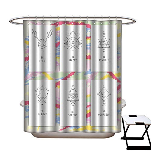 Top Peace Silk Inspired (warmfamily Mildew Resistant Shower Curtain Vector Geometric Alchemy Symbols with Inspired Phrases Shower CurtainW48 x L72)