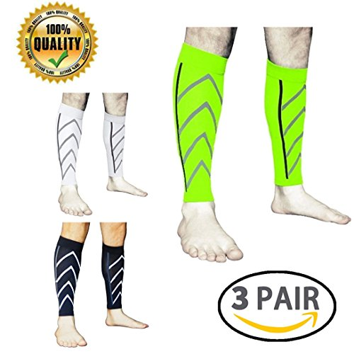 LJ Sport Calf Compression Leg Sleeves Leg Cramp Compression Support Sleeve Fit for Running Jogging Cycling Fitness Exercise Enhanced Performance for Men and Women (Black+White+Green)