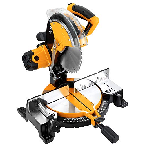 COOFIX Miter Saw, Power Tools Multipurpose Cutting Single Bevel Compound Sliding Miter Saw Adjustable Cutting Angle Miter Saw with Laser