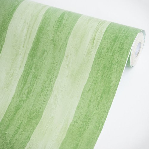 Green Stripes - Vinyl Self-Adhesive Wallpaper Prepasted Wall stickers Wall Decor (Roll)