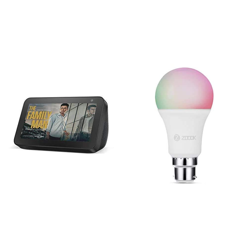 Echo Show 5 (Black) bundle with Zoook 9W Smart LED Color Bulb