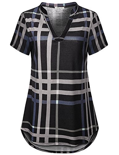 (SeSe Code Plaid Tunic Women Tops for Leggings Flattering New Chic Travel Clothes Henleys Split Neck Comfy Drape Spandex Ladies Blouses Gray and Black XXL)
