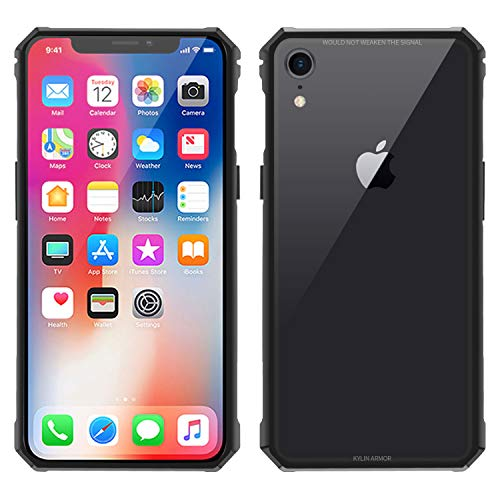 Transparent Metal - Simicoo iPhone XR case Hybrid Metal Bumper Anti-Scratch HD Transparent Gorilla Glass Black Cover Ultra Slim Tough Shockproof Heavy Duty case for iPhone XR 6.1 inch (Black, iPhone XR)