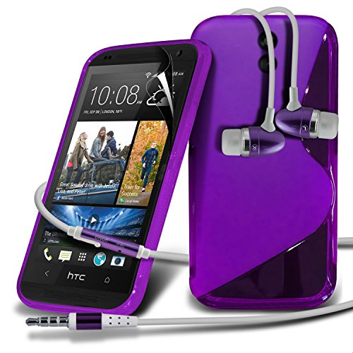 HTC Desire 610 Purple S Line Wave Gel Case Skin Cover With LCD Screen Protector Guard, Polishing Cloth & Hands Free Earphone with Built in Microphone Mic & On-Off Button by Fone-Case