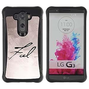 Híbridos estuche rígido plástico de protección con soporte para el LG G3 2014 Smart Phone - feel paper handwriting caligraphy
