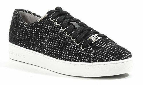 MICHAEL Michael Kors Women's Keaton Tween Low-Top Fashion Sneaker,Black/White,8 M US