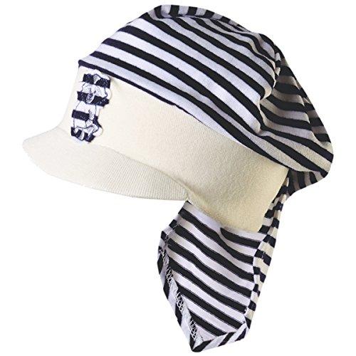 Ergora Kindermütze mit Schirm und Nackenschutz Babymütze Jungenmütze Sommermütze in Admiral Gr. 41/43