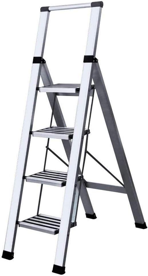 MMAXZ Escalera Interior 4 escalones Expandido Blanco Altura 150 cm Escalera de ingeniería Aleación de Aluminio Engrosada Escalera Plegable Multifuncional: Amazon.es: Hogar