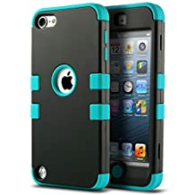 iPod Touch 5 Case, iPod Touch 6 Case, ULAK Hybrid 3 Layer Hybrid Hard Case Cover with Silicone Shell Case for Apple iPod Touch Generation 5 (Black/Blue)