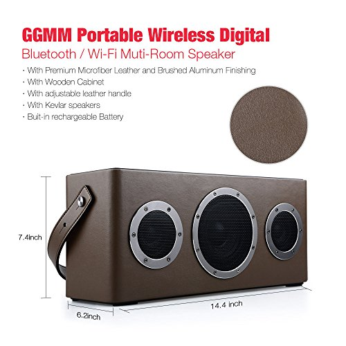 [Apple Airplay Certified]GGMM M4 Wireless Speaker for Music Streaming,Wi-Fi Bluetooth Indoor Outdoor Speaker, Built-in Battery,10-Hour Playtime,Powerful 40W Audio Driver,Enhanced Bass,Multi Room Play Top Offers