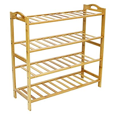 ALLMILL 100% Natural Bamboo 4-Tier Shoe Rack Entryway Shoe Shelf Storage Organizer