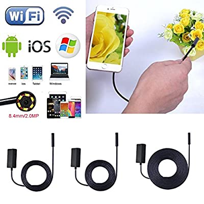 UNIHA Wireless Endoscope HD 8.4mm 720P Waterproof WIFI Snake Camera Video Inspection Camera Borescope for Android/iOS iphone iPad Laptop Tablet 2m/5m/10m