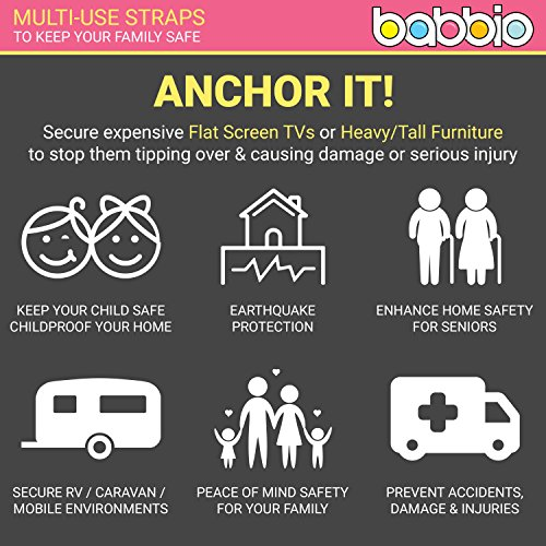 Babbio Anti Tip Safety Straps Anchor Flat Screen Tv Or