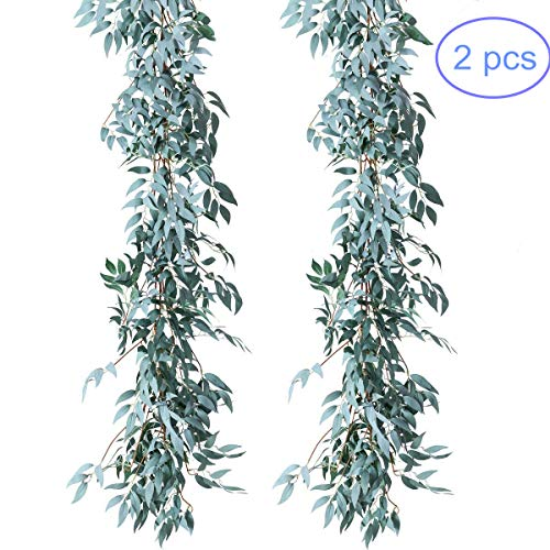 NANSSY 2 Pack Artificial Gray Greenery Garland Faux Silk Willow Leaves Vines Wreath for Wedding Decor, Party, Home Decor, Crowns Wreath (Gray Willow -
