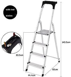 4 Pasos Aluminio Aleación Escalera,plegables Escalera Ligero Casa Escaleras De Mano Con Pasamanos Tiene Hasta 150 Kg-b: Amazon.es: Bricolaje y herramientas