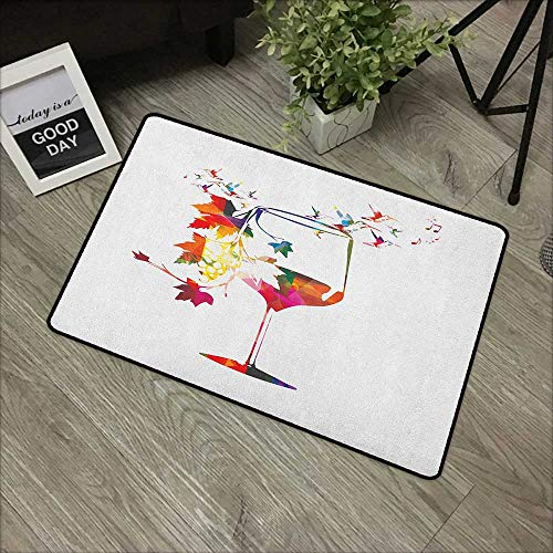 Bedroom door mat W19 x L31 INCH Winery,Wine Glass with Colorful Imaginary Growing Leaves Aroma Sommelier Relax Joy Artsy, Multicolor Our bottom is non-slip and will not let the baby - Tool Sommeliers