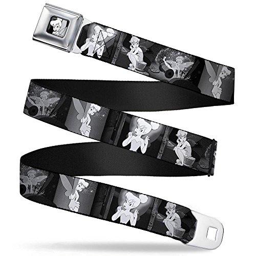 (Tinker Bell CLOSE-UP Full Color Black/White Seatbelt Belt - Tinker Bell Scenes Black/White Webbing)