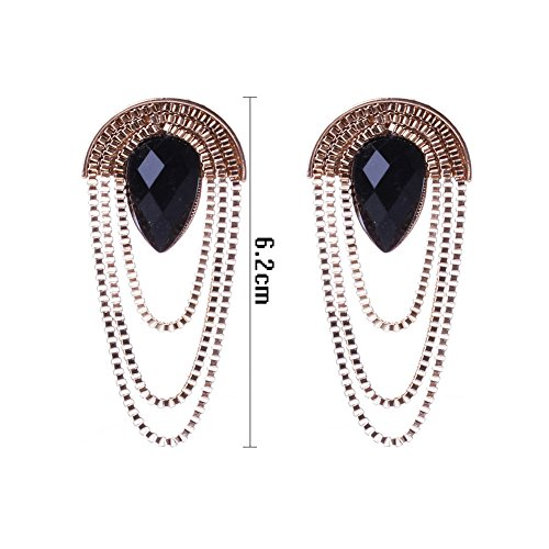 HeyGirl Black Friday Exaggerated Retro Gem Tassel Sector Waterdrop Crystal Zinc Alloy Earrings