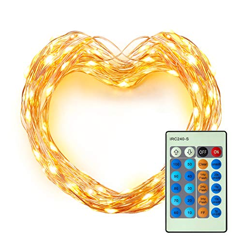 LED String Lights, Miroco 33ft 100 LEDs Dimmable Indoor Outdoor Waterproof Decorative Twinkle Lights with Remote for Bedroom, Patio, Garden, Christmas (Warm White Copper Wire Lights, UL Listed)