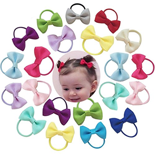Accessories Jewelry Bow (Baby Hair Ties Bows Kids Hair Tie Head Bands Ropes Hair Elastics Ponytail Toddler Fabric girls Hair Holder 20PCS)