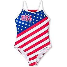 Dreamwave Dream Wave Girls' USA Retro Stars and Stripes One-Piece Swimsuit