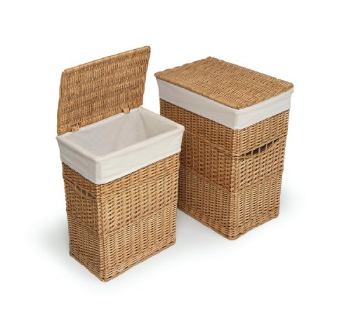 (Wicker Two Laundry Hamper Set with Lids and Fabric Liners)