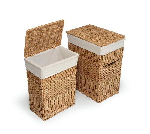Badger Basket Two Hamper Set with Liners, Natural by Badger Basket