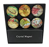 fridge magnet world - Assorted Antique World Map Glass Magnets - Set of 6
