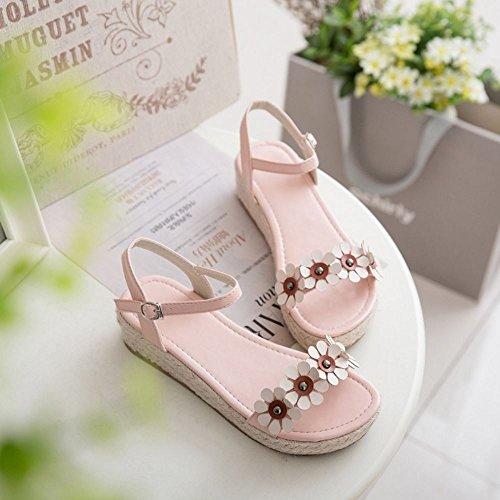 COOLCEPT Women Fashion Ankle Strap Sandals Open Toe Shoes With Flower Pink xXAUCZuq69
