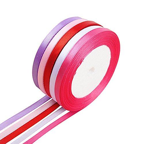 LEIWOOR 5 Color Fabric Ribbon Silk Satin Roll Satin Ribbon Rolls for Bows Gifts Wrap Crafts Gifts Party Wedding