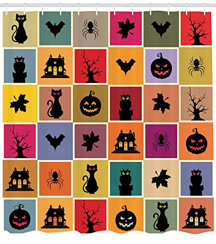 Ambesonne Vintage Halloween Shower Curtain, Bats Cats Owls Haunted Houses in Squraes Halloween Themed Darwing Art, Fabric Bathroom Decor Set with Hooks, 84 inches Extra Long, Multicolor -