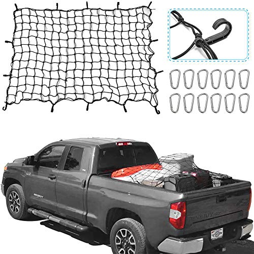 RT-TCZ 5.9x3.9 Bungee Cargo Net Stretches to 13.6x8.9,Small 4x4 Mesh Heavy Duty Truck Bed Net with 12 Aluminium Alloy Hooks for Oversized Rooftop Cargo Rack & Small Trucks Load Tight