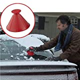 Windshield Ice Snow Scraper,Scrape A Round Magic Cone-Shaped Becomes A Funnel by PSFS (Red)