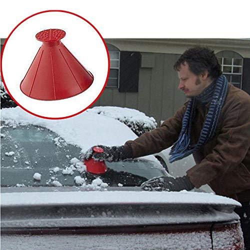 (Sinwo Ice Scraper,Scrape A Round Magic Cone-Shaped Windshield Ice Scraper Snow Shovel Tool for Car Windshield and Window (Red))