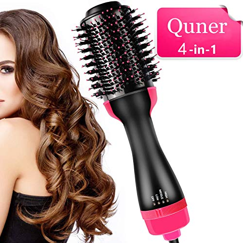 Hot Air Brush 4 in 1 One Step Ionic Hair Dryer & Volumizer Smooth Frizz for Wet Straight Curly Hair (Curler One In 4 Hair)