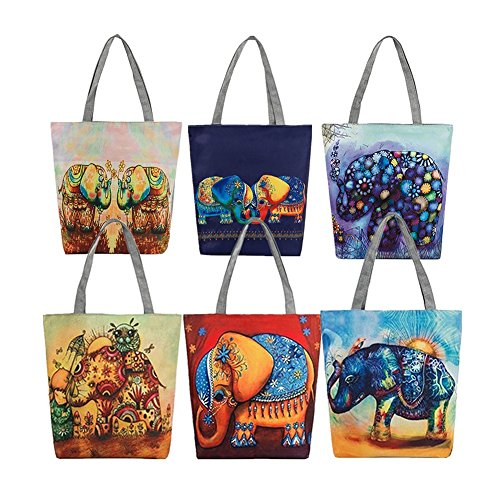 la para bolso de compra mujer casual solo Bolsa con de 4 de de 3 hombro mano étnico elefante lona FEIDAj un qwSEvFxw
