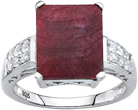 .925 Sterling Silver Emerald Cut Genuine Red Ruby and White Topaz Ring