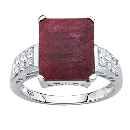.925 Sterling Silver Emerald Cut Genuine Red Ruby and White Topaz Ring Size 8