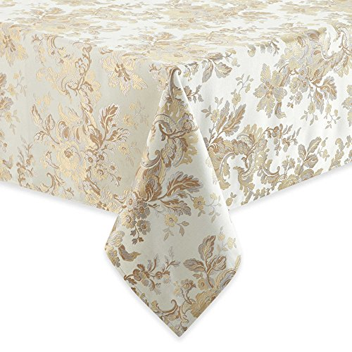 Waterford Linens Marcelle 70 Inch Round Tablecloth in Ivory