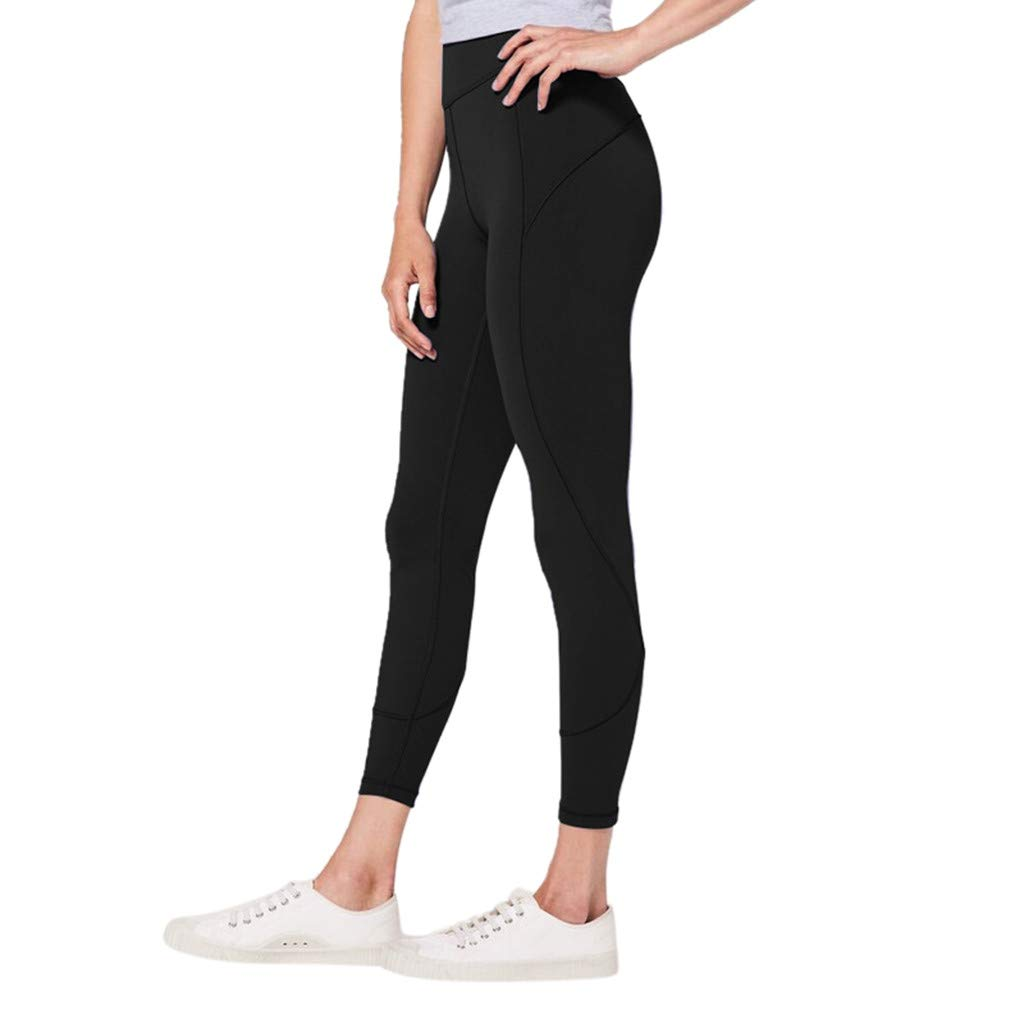 Capri Leggings Workout, Workout Shorts for Women Mid Thigh,Women's High Waist Solid Yoga Pants Workout Running Sports Leggings Pants Black