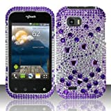 mytouch lg - PURPLE GEMS Hard Plastic Bling Rhinestone Case for LG myTouch Q C800 / Maxx Q (T-Mobile Slider Version) [In Twisted Tech Retail Packaging]