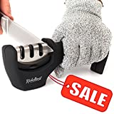 Kyпить Kitchen Knife Sharpener - 3-Stage Knife Sharpening Tool Helps Repair, Restore and Polish Blades - Cut-Resistant Glove Included (Black) на Amazon.com