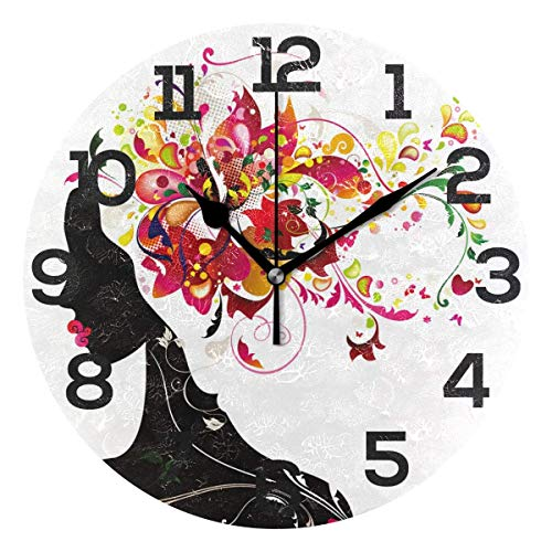 Dozili Pink Fairy Girl Floral Round Wall Clock Arabic Numerals Design Non Ticking Wall Clock Large for Bedrooms,Living Room,Bathroom