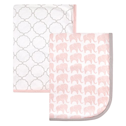 Hudson Baby Interlock Cotton 2 Piece Swaddle Blanket, Girl E