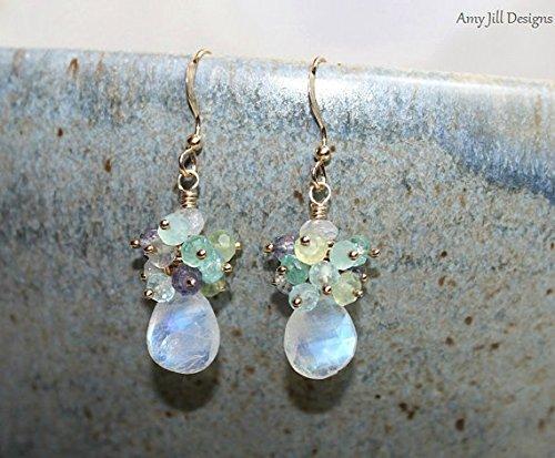 Moonstone Earrings, Cluster Earrings, Blue Flash, Moonstone Jewelry, Gold Filled, Gemstone Earrings