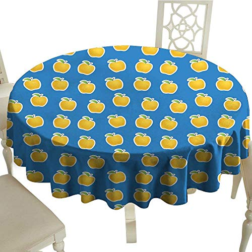 Unpremoon Round Tablecloth Apple,Yellow Clipart Apples on Blue Background Delicious Vegetarian Food Vitamins,Blue Green Yellow Table Cover for Home Wedding Tables D 50