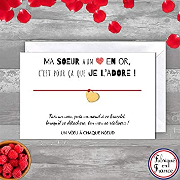 Carte De Voeux Ma Soeur Je Ladore Bracelet Porte Bonheur 1 Cœur