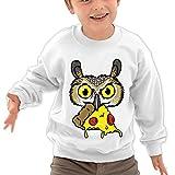 Puppylol Owl Eating Pizza Kids Classic Crew-neck Pullover Sweatshirt White