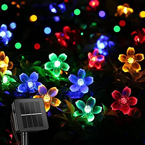 ITICdecor Solar Christmas String Flower Lights Outdoor Waterproof 50 LED Fairy Light Decorations for Garden Fence Patio…