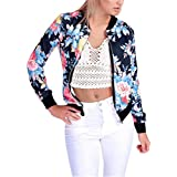 Morecome Womenss FLoral Print Zipper Bomber Jacket